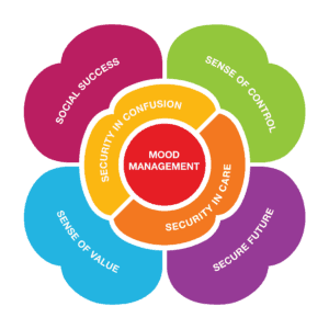 the DAWN Method 7 Tools: Mood Management is most important; Second most important are security in confusion and security in care; Then the 4 components of well-being are social success, sense of control, sense of value, and secure future