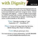 Dementia with Dignity poster for Circles of Caring Adult Day Services, 2016