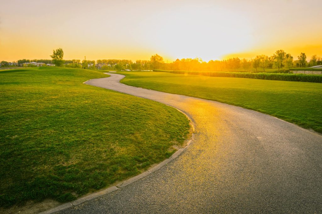 dawn with bike path winding through open grass | the DAWN Method