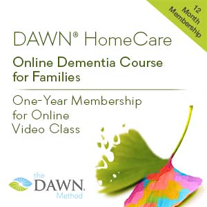 DAWN HomeCare Online Dementia Course for Families; One-Year Membership for Online Video Class (The DAWN Method logo with ginkgo leaf - one side is rainbow colored. other side fading)