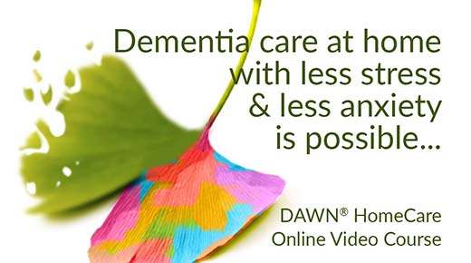 Dementia care at home with less stress & anxiety is possible... (ginkgo leaf - one side fading, other side in rainbow colors)