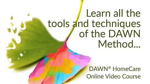 Learn all the tools and techniques of the DAWN Method... (ginkgo leaf - one side fading, other side in rainbow colors)